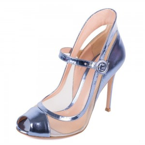 Violet Mary Jane Pumps Stiletto Heel Peep Toe Pumps