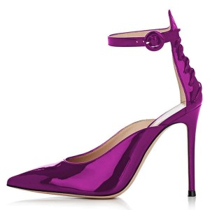 Violet Mirror Leather Lace Up Ankle Strap Heels Pumps