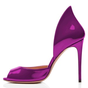 Violet Patent Leather Peep Toe Office Heels Pumps