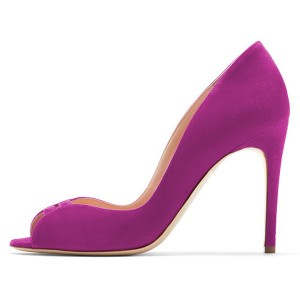 Violet Peep Toe Stiletto Heels Pumps for Office Lady