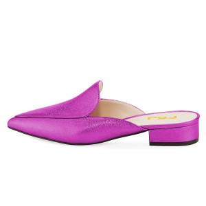 Violet Pointy Toe Bock Heel Loafer Mules