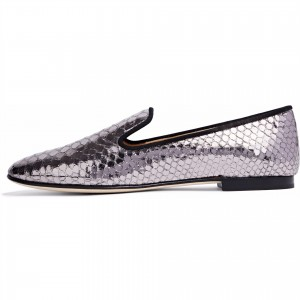 Violet Python Flat Loafers for Women