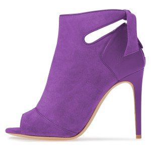Violet Suede Peep Toe Cut Out Bow Stiletto Heel Ankle Booties