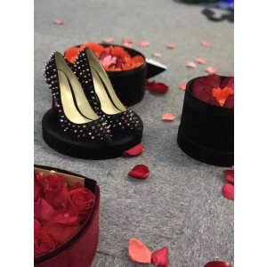 Black Suede Colorful Studs Shoes Stiletto Heel Rivets Pumps