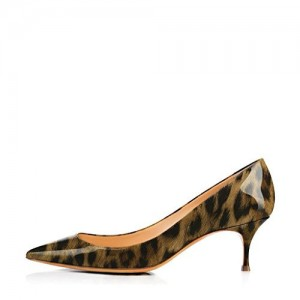 Leopard Print Heels Pointy Toe Patent Leather Kitten Heels Pumps by FSJ