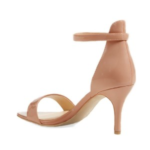 Women's Nude Patent Leather Stiletto Commuting Heel Ankle Strap Sandals