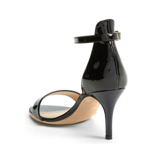 Black Patent Leather Ankle Strap Sandals Stiletto Heels Office Sandals
