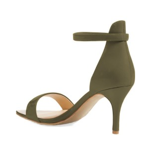 Olive Patent Leather Stiletto Heel Ankle Strap Sandals