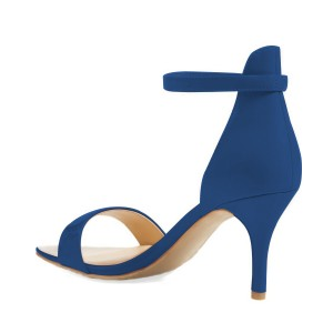 Blue Vegan Ankle Strap Sandals Open Toe Office Sandals