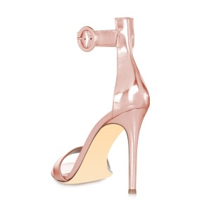 Rose Gold Shoes Metallic Ankle Strap Stiletto Heel Sandals