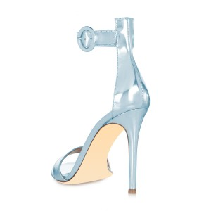 Light Blue Mirror Leather Ankle Strap Sandals Open Toe Office Heels