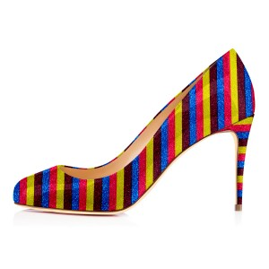 Multi-color Stripes Stiletto Heels Rainbow Round Toe Pumps