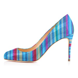 Multi-color Stiletto Heels Women's Rainbow Pumps by FSJ