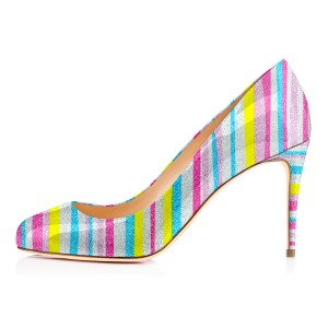 Multi-color Stiletto Heels Colorful Stripes Rainbow Pumps