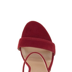 Women's Red Ankle Strap Sandals Suede Open Toe Chunky Heels Pumps