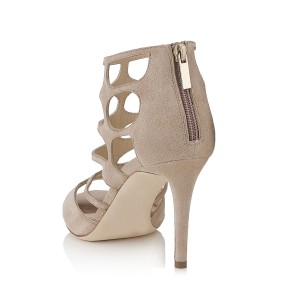 Women's Khaki Hollow-out Elegant Formal Stiletto Heels Sandals