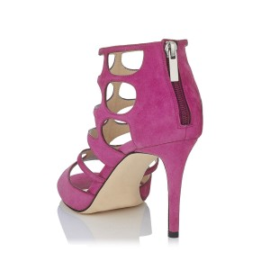 Magenta Suede Vegan Shoes Peep Toe Stiletto Heel Cage Sandals