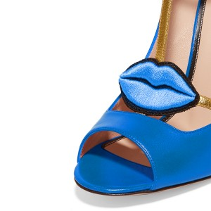 Women's Blue Embroidery Formal Pencil Heel T-Strap Shoes