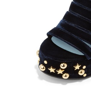 Women's Navy and Black Rivets Chunky Heels Ankle Strap Sandals