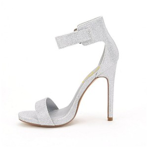 Women's Silver Fibrous Ankle Strap Stiletto Commuting Heel Sandals