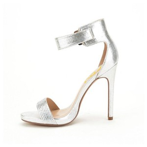 Silver Rhinestone Ankle Strap Sandals Stiletto Heel Evening Sandals