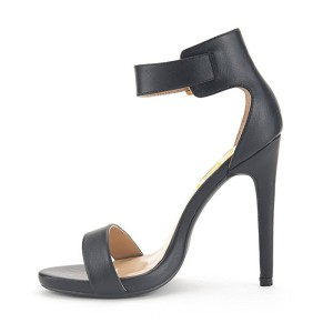 Women's Black Leather Stiletto Heels Ankle Strap Sandals