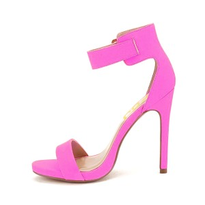 Women's Plum Leather Ankle Strap Stiletto Commuting Heel Sandals