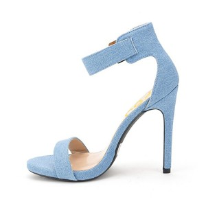 Women's Blue Suede Ankle Strap Stiletto Commuting Heel Sandals