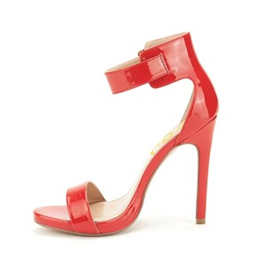 Women's Orange Patent Leather Ankle Strap Stiletto Commuting Heel Sandals