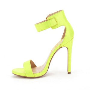 Women's Light Yellow Leather Ankle Strap Stiletto Commuting Heel Sandals
