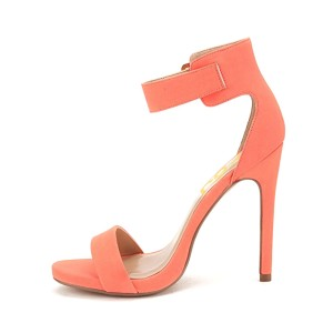 Women's Salmon Leather Ankle Strap Stiletto Commuting Heel Sandals