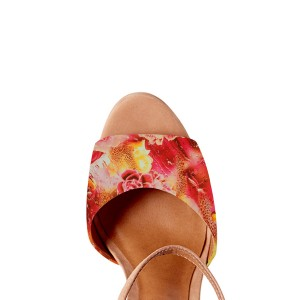 Khaki Floral Heels Ankle Strap Block Heel Sandals with Platform
