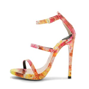 Orange Floral Printed Daily Pencil Heel Shoes Gladiator Sandals for Women