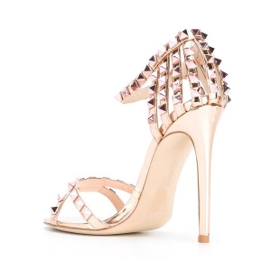 Champagne Studs Shoes Mirror Leather Ankle Strap Stiletto Heel Sandals