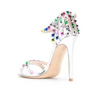 Silver Ankle Strap Sandals Stiletto Heels with Colorful Rivets