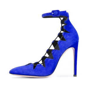 Royal Blue Heels Ankle Strap Pointy Toe Suede Pumps Stiletto Heels