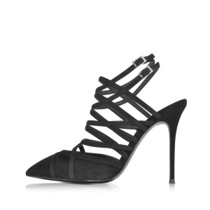 Black Strappy Sandals Stiletto Heels Slingback Closed Toe Sandals