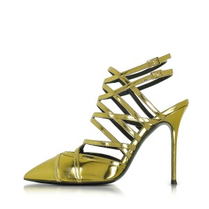 Green Slingback Heels Strappy Sandals Closed Toe Stiletto Heels
