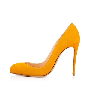 Women's Yellow Suede Almond Toe Commuting Vintage Pumps