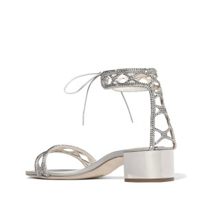 Silver Block Heel Sandals Ankle Strap Open Toe Strass Shoes