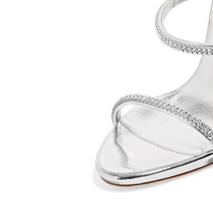 Silver Metallic Evening Shoes Three-Strap Rhinestone Sandals for Prom