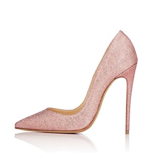 Pink 4 Inch Heels Fabric Pointy Toe Ladies' Stilettos Pumps
