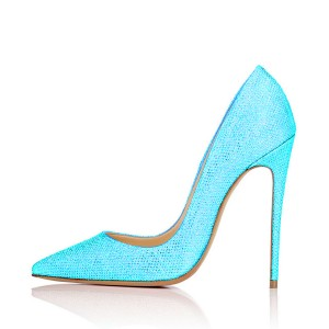 Women's Cyan Fibrous Commuting Pumps Stiletto Heels Shoes