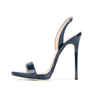 Women's Navy Slingback Heels Dress Shoes Open Toe Stiletto Heels