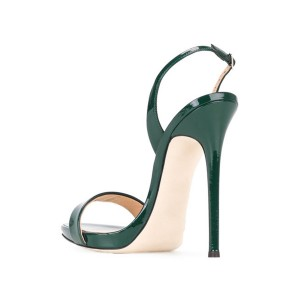 Green Patent Leather Slingback Heels Stiletto Office Sandals