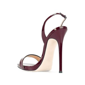 Women's Maroon Patent Leather Stiletto Heel Office Sandals