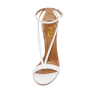FSJ White T Strap Sandals Patent Leather Stiletto Heel Offcie Shoes