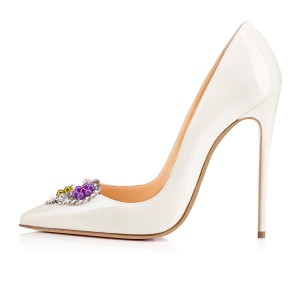 White Bridal Heels Heart Shaped Rhinestone Pumps for Wedding