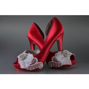 Red Wedding Heels Peep Toe Satin D'orsay Pumps with Platform