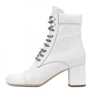 White Round Toe Lace Up Boots Block Heel Ankle Boots
